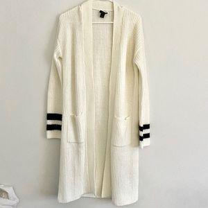Halogen Varsity stripe sleeve long cardigan